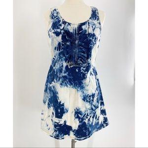 KAREN WALKER RUNWAY Denim Tie Dye Mini Dress